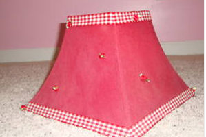 red and white gingham girl lamp shade lampshade nursery baby