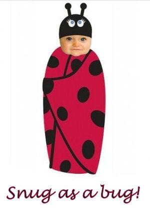 Red and black ladybug theme swaddling blanket and hat set