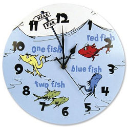 Dr dr Seuss red fish blue fish one fish two fish nursery wall clock
