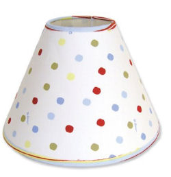 DIY polka dot lamp shade for a dr Seuss red fish blue fish one fish two fish nursery
