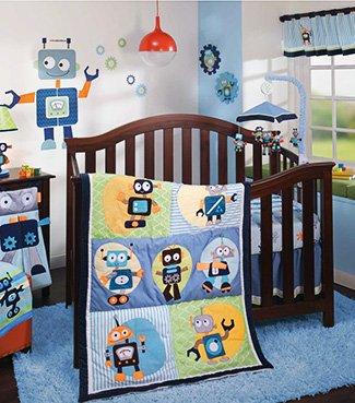 Outer space robots Jetsons cartoon themed baby nursery ideas crib set bedding
