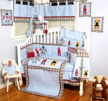 robot bedding baby crib nursery theme boys sets
