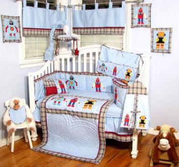 Baby robot bedding and nursery room decor for Robot bedroom