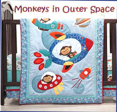 Outer space monkey baby crib bedding set for boys and girls