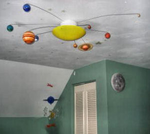 Solar system nursery ceiling light fixture with planets