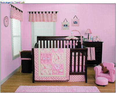 Pink baby girl rockstar baby crib bedding set perfect for a rock and roll nursery theme for your little princess.