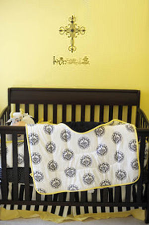 Musical rock and roll baby nursery room with black and yellow crib bedding