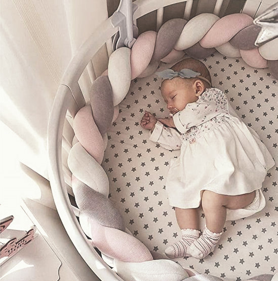 Personalized round pink grey and white baby crib bedding set in for a baby girl nursery room