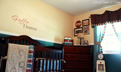 Baby boy vintage cars Americana nursery theme with Cocalo Couture Aidan crib bedding set