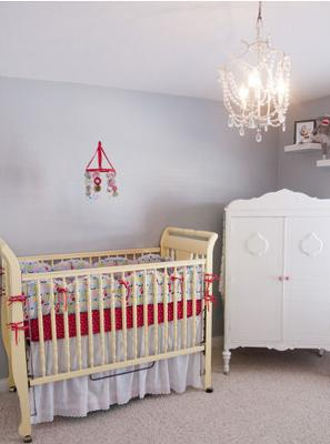 Baby Ruby's Vintage Modern Grey and Red Nursery