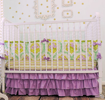 lavender purple and plum and green ruffled baby bedding crib skirt girls nursery pictures