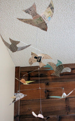 Homemade DIY paper bird baby crib mobile
