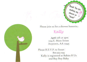 Custom Pink and Green Birdy Baby Shower Invitations by Serena Baker of Rylie Boo