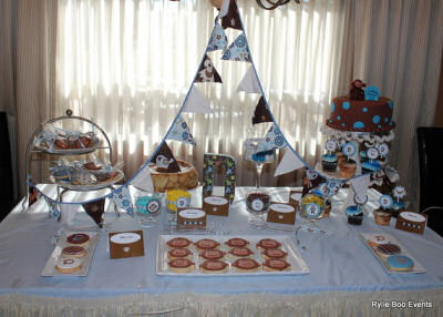 Blue and Brown Monkey Theme Baby Shower by Serena of Rylie Boo Events