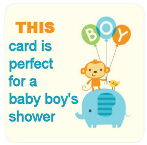 Baby blue safari baby shower invitation announcement card with a monkey an elephant and a yellow bird