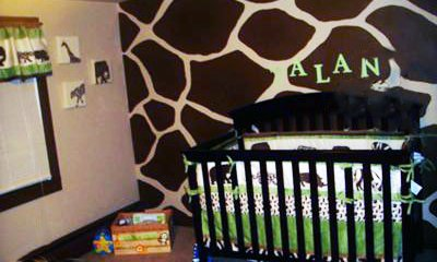 Baby's Safari Theme Nursery with brown and tan, giraffe print wall painting technique.