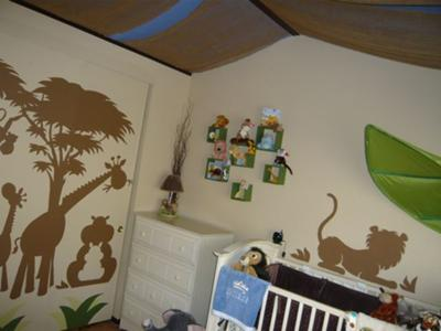 Our Baby Boy's Jungle Kingdom Safari Nursery Theme with Large Animal Silhouette Wall Decals