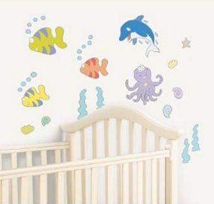 Octopus tropical fish and dolphins reusable vinyl nursery wall decals and stickers