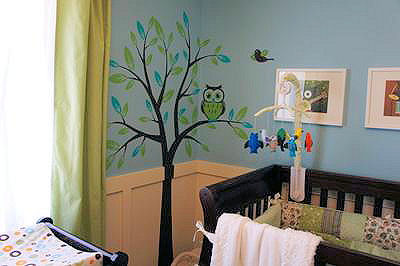 Green and baby blue owl theme boy nursery design