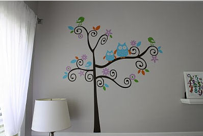 Nursery Tree Wall Decal with Owls and Birds