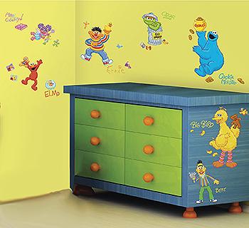 Sesame Street baby nursery wall mural ideas