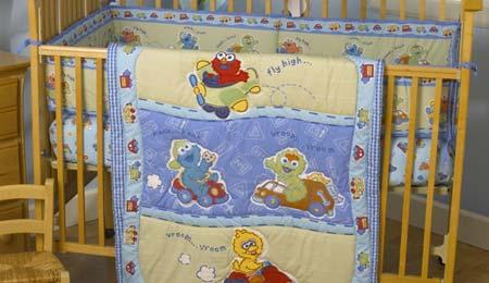 sesame street baby crib bedding comforter nursery fabrics elmo big bird burt ernie