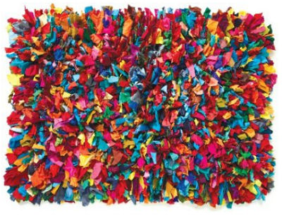 Colorful shaggy shag kids rug in rainbow colors