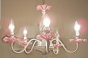 shabby chic baby girl nursery chandelier pink crystal iron metal vintage