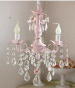shabby chic baby girl nursery chandelier pink crystal iron metal roses elegant vintage