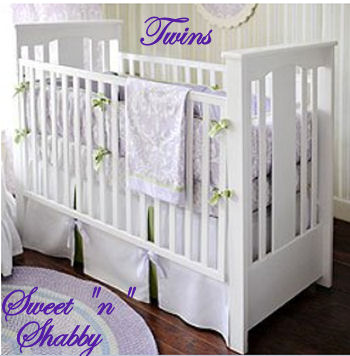 Violet purple baby room decor and crib bedding set for a twin shabby chic nursery