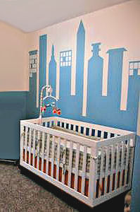 Modern City Skyline Wall Mural for a Baby Boy Cityscape Nursery Theme Room