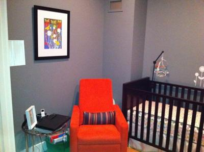 Bright Orange Nursery Glider and Modern Pali Baby Crib