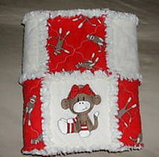 sock monkey baby rag quilt girl red crib