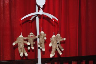 Homemade Baby Sock Monkey Crib Mobile