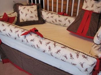 red brown cream white sock monkey baby bedding crib nursery set custom