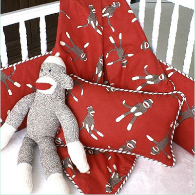 Vintage sock monkey baby nursery crib bedding set
