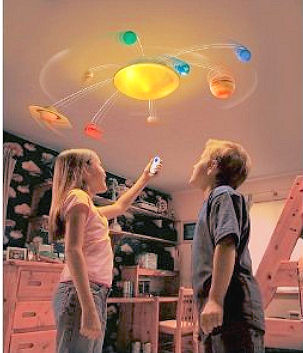 The colorful planet solar system light fixture starts out in the baby's nursery and will be in the room helping the kids learn the names and characteristics of the planets in the order that they orbit the sun