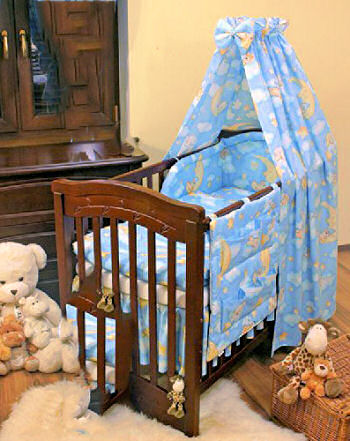 Baby blue and yellow bear moon and stars crib bedding set with canopy for a boy nursery