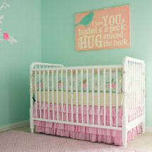 Aqua blue and pink baby girl nursery with shabby chic rose crib bedding set