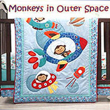 Baby boy outer space monkey nursery theme with crib bedding set and planets decor