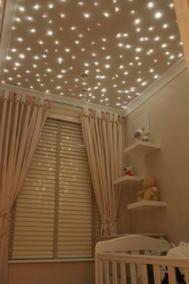 Twinkling white star lights on the baby nursery ceiling