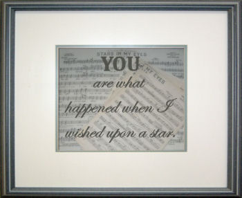 Homemade you are what happened when I wished upon a star framed baby quote with sheet music background