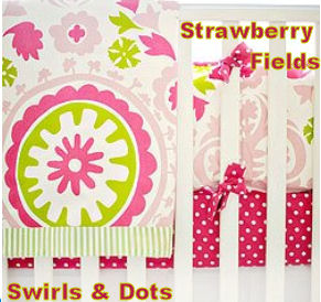 Strawberry fields red pink chartreuse green and white baby girl nursery crib bedding set