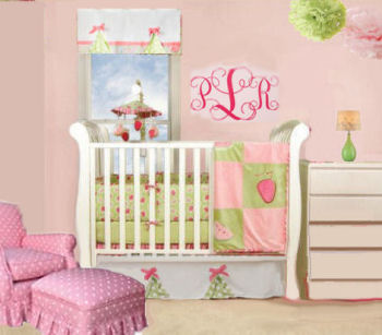Hot pink and lime green baby girl strawberry nursery theme