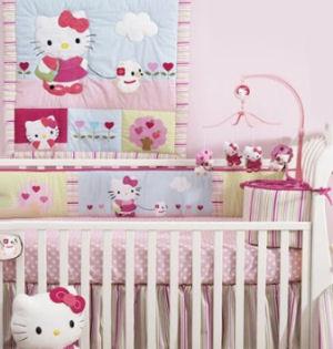 Baby girl Hello Kitty nursery crib bedding set with stripes