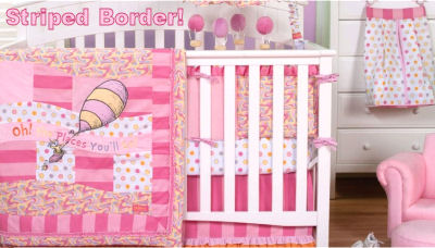Pink baby girl Dr Seuss Oh the Places You'll Go baby nursery crib bedding set