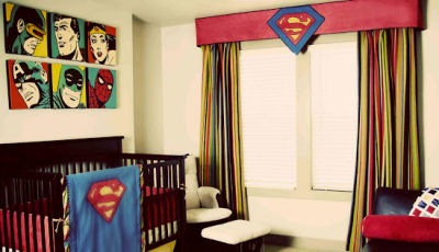 Baby superman custom nursery crib bedding set with appliqued blanket