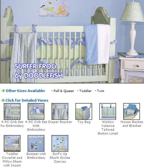 baby surf surfboard surfing theme nursery baby crib bedding set