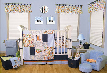 Baby surfer boy surf theme nursery crib bedding set and decor in blue