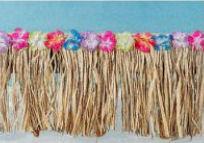 Raffia crib skirt in a tropical Hawaiian theme surf baby nursery